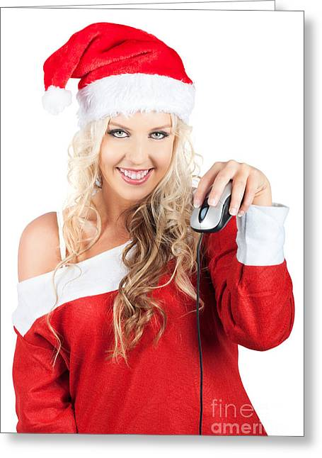 Cute Lady Santa Claus With Computer Mouse Greeting Card by Jorgo Photography - Wall Art Gallery