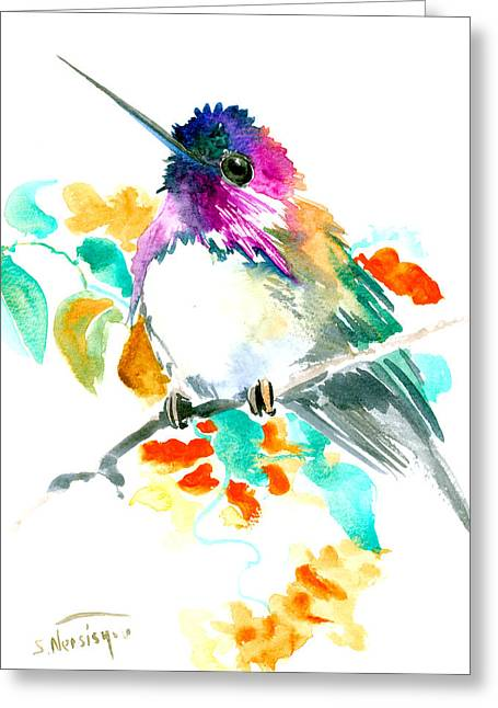 Cute Little Hummingbird Greeting Card by Suren Nersisyan