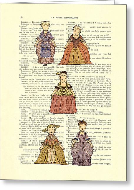 Cute Little Girls Dressed In Victorian Clothes Greeting Card by Madame Memento