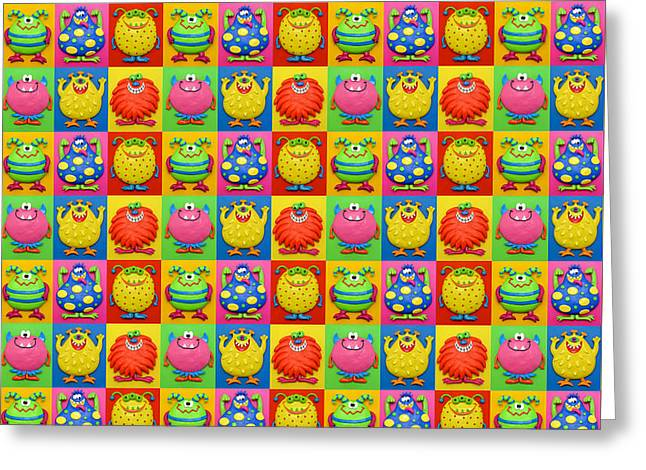 Cute Monster Pattern Greeting Card