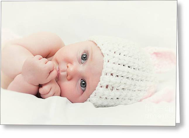 Cute Newborn Portrait Greeting Card by Gualtiero Boffi