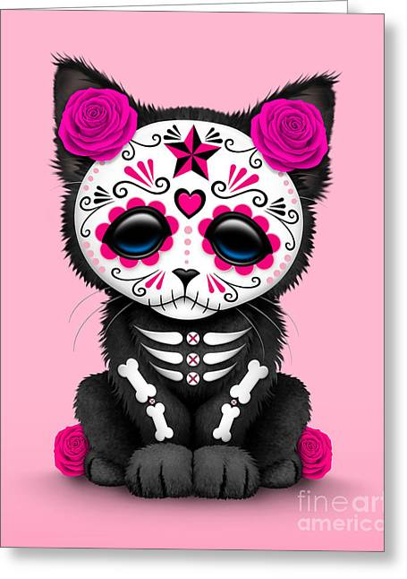 Cute Pink Day Of The Dead Kitten Cat  Greeting Card by Jeff Bartels