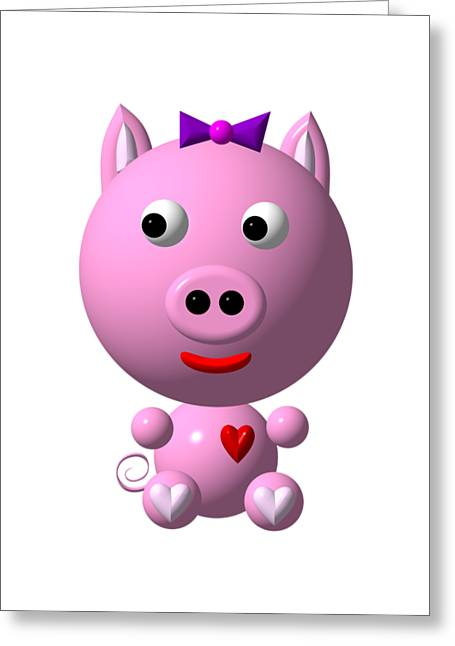 Cute Pink Pig With Purple Bow Greeting Card