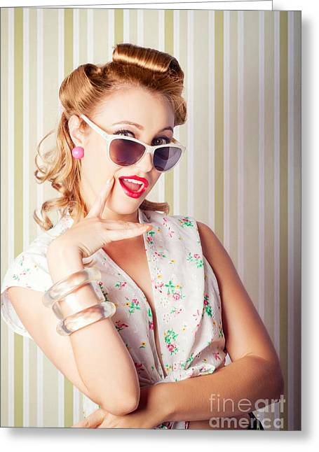Cute Pinup Fashion Girl With Surprised Expression Greeting Card by Jorgo Photography - Wall Art Gallery