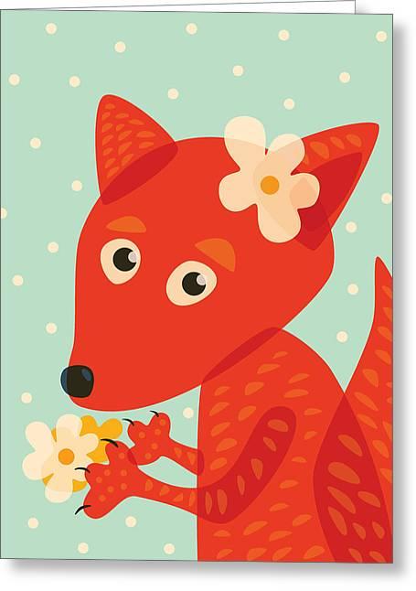 Cute Pretty Fox With Flowers Greeting Card