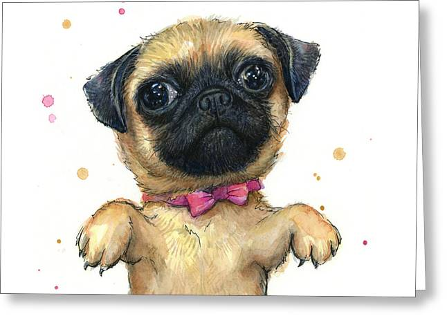 Cute Pug Puppy Greeting Card by Olga Shvartsur