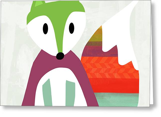 Cute Purple And Green Fox- Art By Linda Woods Greeting Card