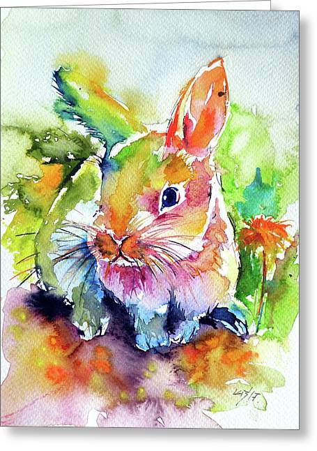 Greeting Card featuring the painting Cute Rabbit by Kovacs Anna Brigitta