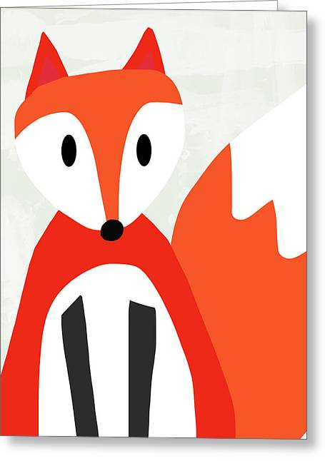 Cute Red And White Fox- Art By Linda Woods Greeting Card