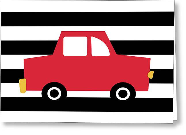 Cute Red Car- Art By Linda Woods Greeting Card