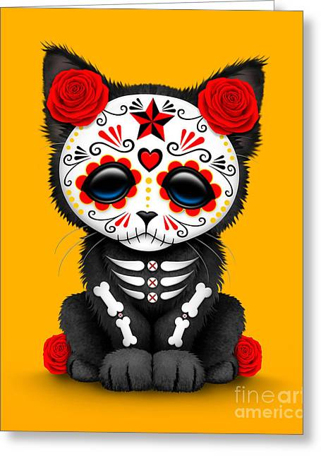 Cute Red Day Of The Dead Kitten Cat On Yellow Greeting Card by Jeff Bartels