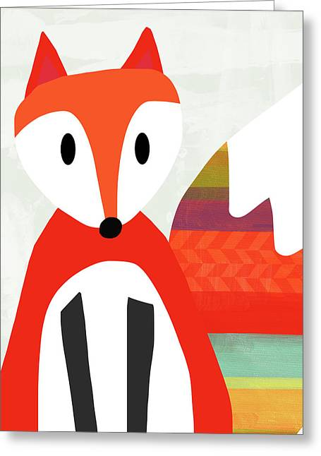 Cute Red Fox 2- Art By Linda Woods Greeting Card by Linda Woods