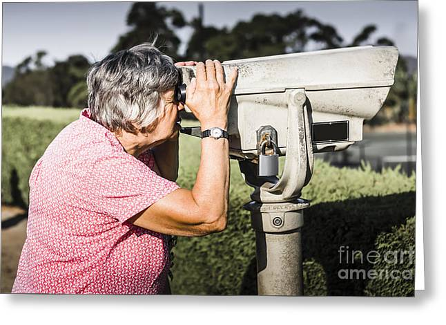 Cute Senior Woman On Sightseeing Travel Tour Greeting Card by Jorgo Photography - Wall Art Gallery