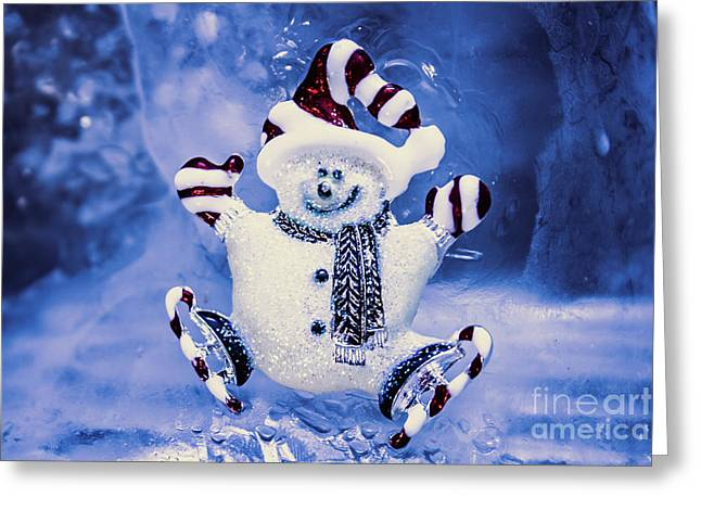 Cute Snowman In Ice Skates Greeting Card by Jorgo Photography - Wall Art Gallery