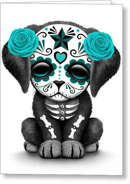 Cute Teal Blue Day Of The Dead Sugar Skull Dog  Greeting Card by Jeff Bartels