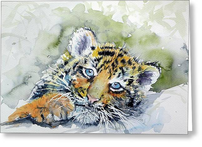 Cute Tiger Cub Greeting Card by Kovacs Anna Brigitta