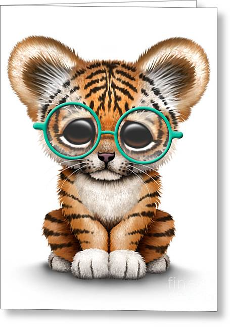Cute Tiger Cub Wearing Glasses Greeting Card