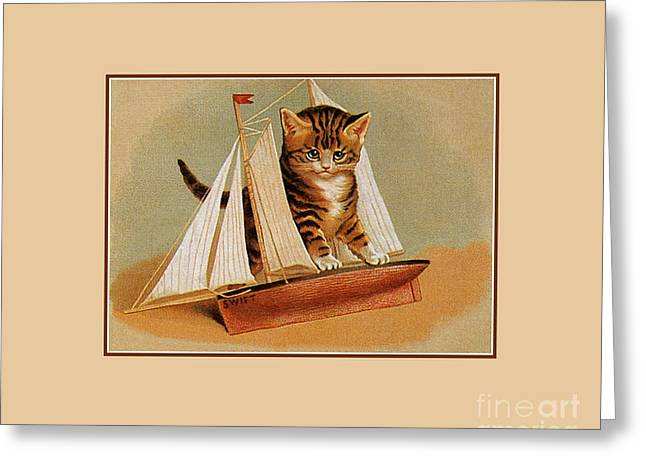 Cute Victorian Kitten, Wooden Toy Ship Greeting Card