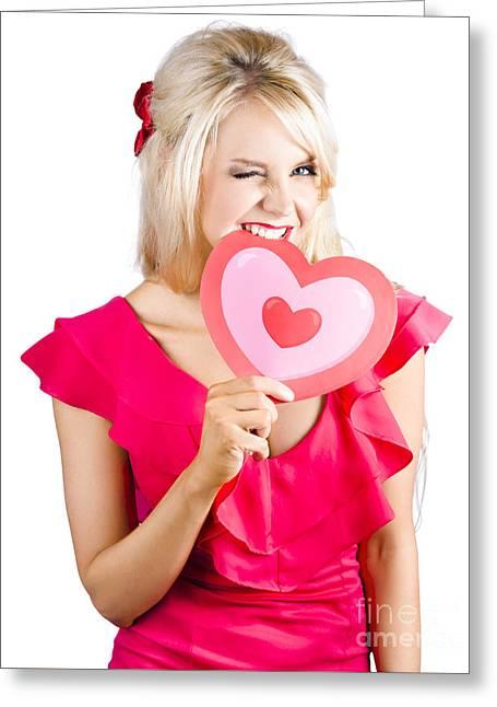 Cute Woman Biting Big Red Love Heart Greeting Card