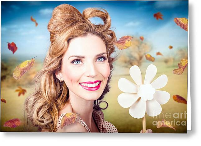 Cute Woman With Magnificent Hair. Beauty In Nature Greeting Card by Jorgo Photography - Wall Art Gallery
