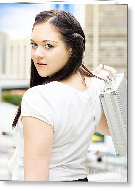 Cute Young Busy Business Woman Carrying Briefcase  Greeting Card