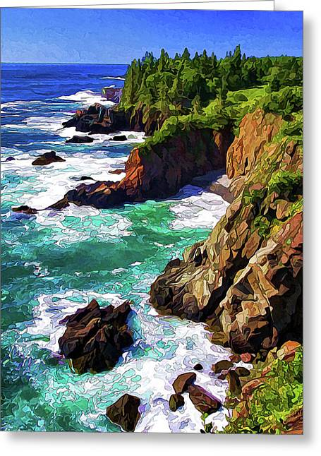 Cutler Coast Whitewater Greeting Card by ABeautifulSky Photography