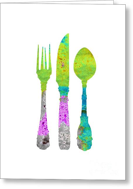 Cutlery Set Colorful Silhouette  Greeting Card by Joanna Szmerdt