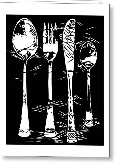 Cutlery Set Drawing Silhouette Greeting Card