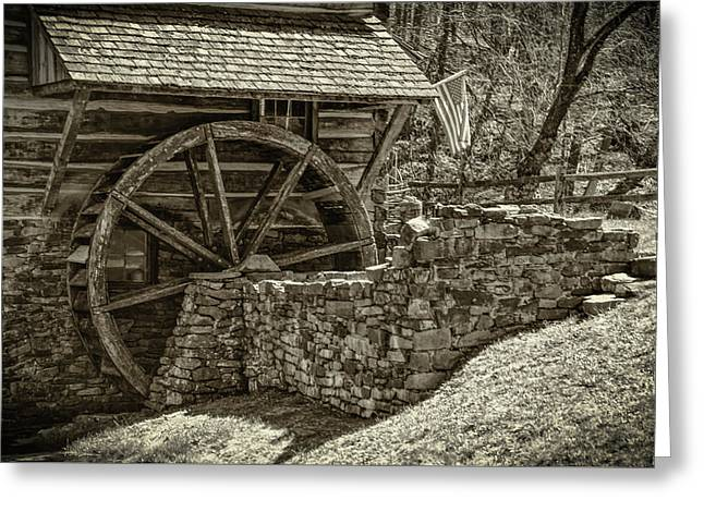 Cuttalossa Mill Wheel In Sepia - Bucks County Pa Greeting Card