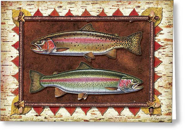 """rainbow Trout"" Greeting Cards - Cutthroat and Rainbow Trout Lodge Greeting Card by JQ Licensing"