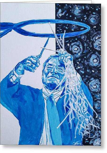 Cutting Down The Net - Dean Smith Greeting Card