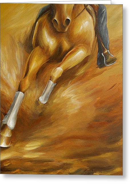 Greeting Card featuring the painting Cutting Horse Closeup 1 by Dina Dargo