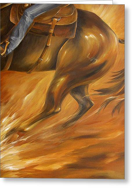 Greeting Card featuring the painting Cutting Horse Closeup 2 by Dina Dargo
