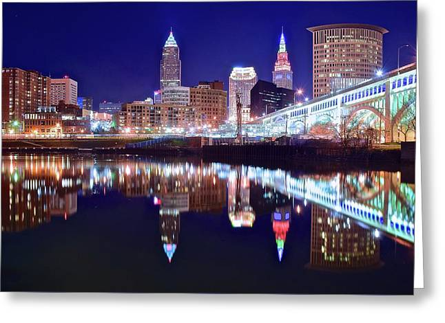 Cuyahoga Night Lights Greeting Card by Frozen in Time Fine Art Photography