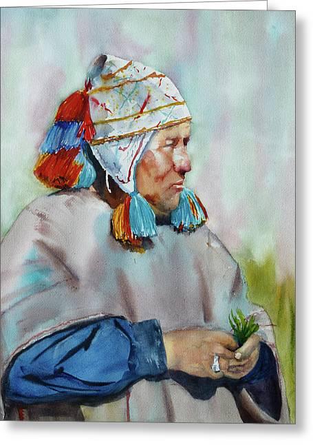 Cuzco Shaman  Greeting Card by Melanie Harman
