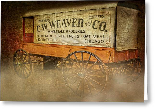 C.w. Weaver And Co. Wagon Greeting Card by Susan Candelario