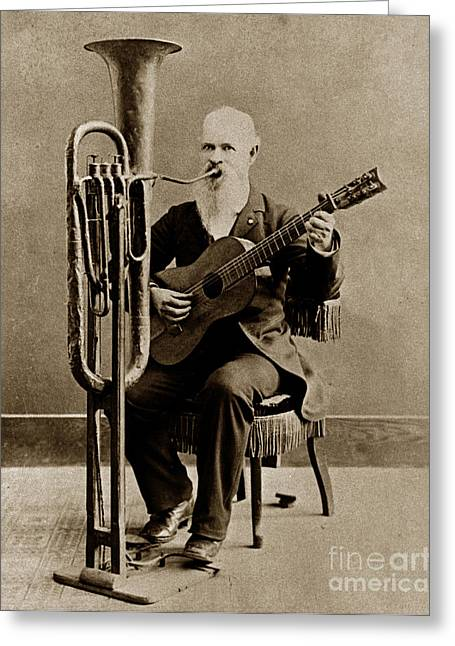 C. W. J. Johnson With His One-man Band Invention 1880 Greeting Card by California Views Mr Pat Hathaway Archives