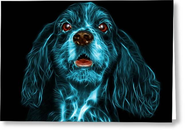 Cyan Cocker Spaniel Pop Art - 8249 - Bb Greeting Card