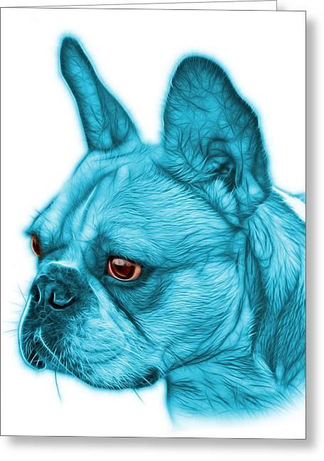 Cyan French Bulldog Pop Art - 0755 Wb Greeting Card