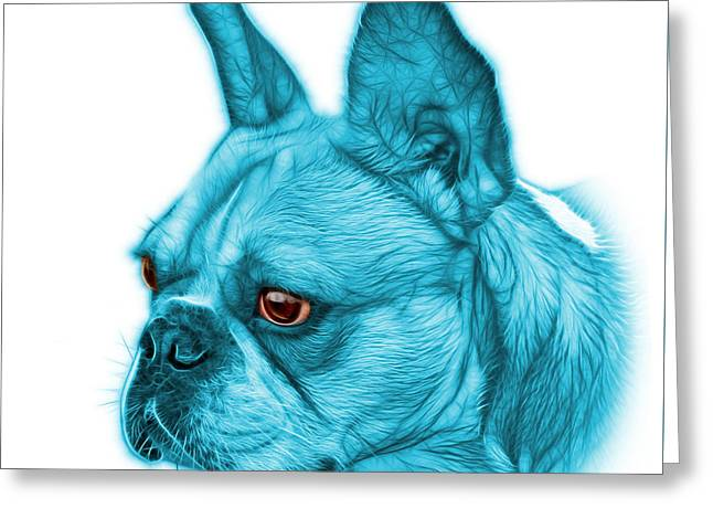 Cyan French Bulldog Pop Art - 0755 Wb Greeting Card