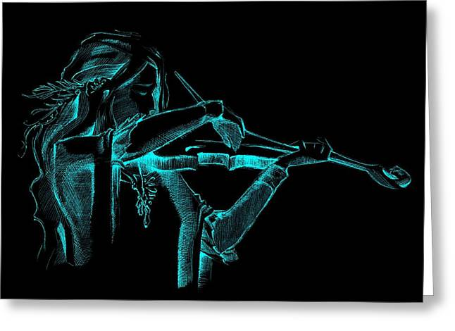 Cyan Violinist  Greeting Card by Movie Poster Prints