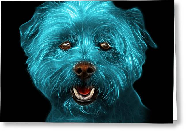 Cyan West Highland Terrier Mix - 8674 - Bb Greeting Card