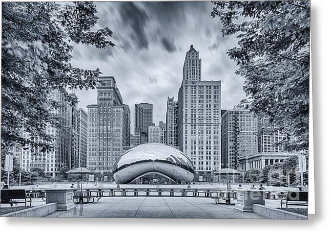 Cyanotype Anish Kapoor Cloud Gate The Bean At Millenium Park - Chicago Illinois Greeting Card