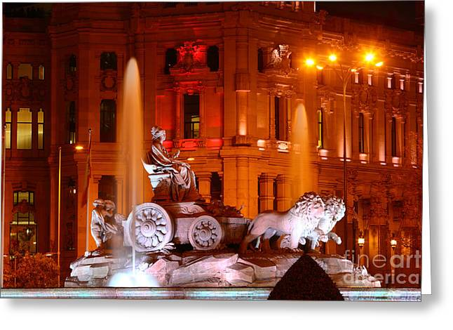 Cybele Fountain Illuminations Madrid Greeting Card