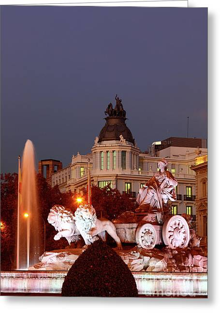 Cybele Fountain Twilight Madrid Greeting Card