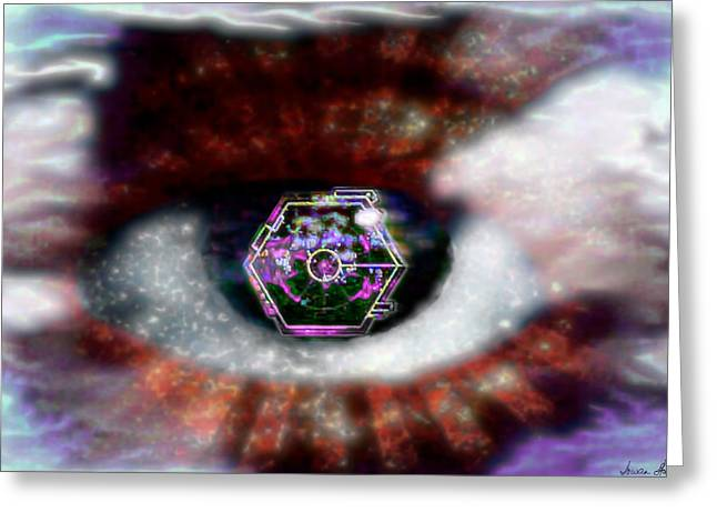 Greeting Card featuring the digital art Cyber Oculus Cumulus by Iowan Stone-Flowers