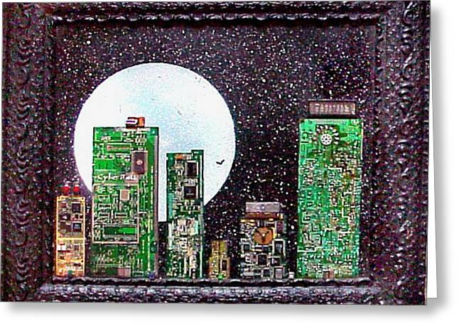 Cybercity 11 Moon Over Ms Greeting Card by Hank Roll