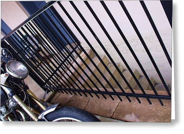 Cycle And Stairs I Greeting Card by Anna Villarreal Garbis