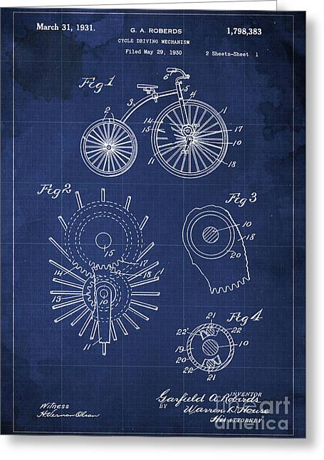 Cycle Driving Mechanism Patent Blueprint Year 1930 Blue Background Greeting Card by Pablo Franchi