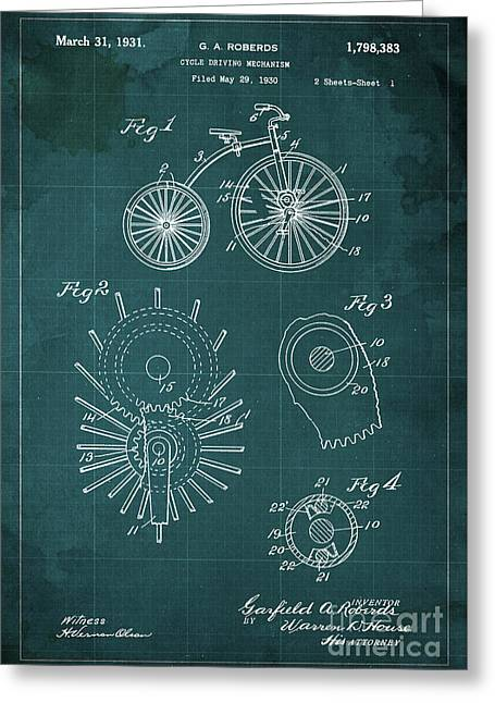 Cycle Driving Mechanism Patent Blueprint Year 1930 Green Background Greeting Card by Pablo Franchi